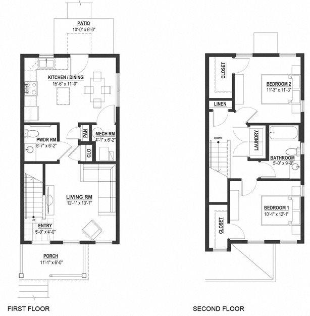 Two Bedroom Townhouse Floor Plan 6