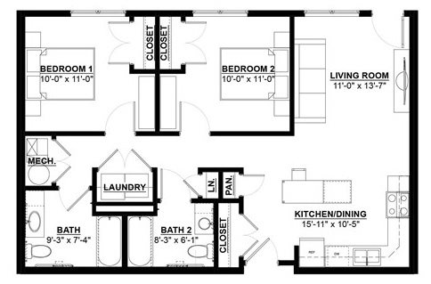 Two Bedroom Two Bath Floor Plan 3