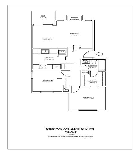 2 Bed 1 Bath Sm Floor Plan 2