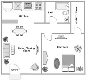 Grand Oaks Apartment Homes Riverview, FL 33578 2 bedroom 1 bathroom floor plan