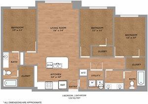 Phase 2 Aero Floor Plan: 3 Bedroom 2 Bathroom