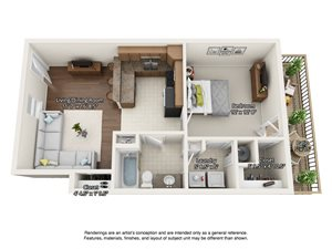 1 bedroom 3 dimensional floorplan downstairs