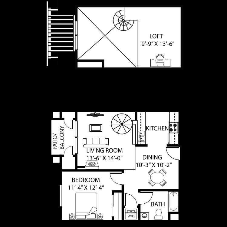 1 Bedroom, 1 Bath + Loft Floor Plan 3