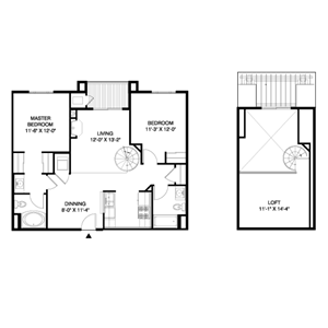2 Bedroom, 2 Bath + Loft
