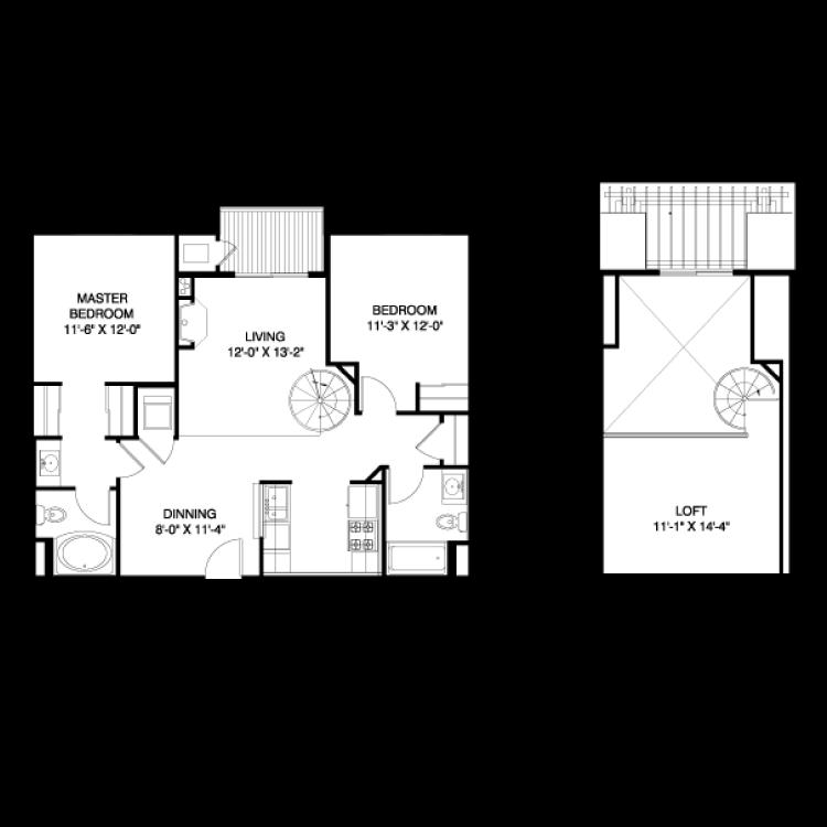 2 Bedroom, 2 Bath + Loft Floor Plan 5