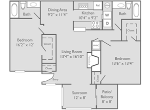 The Chattahoochee Floor Plan at The Preserve at Dunwoody Apartments in Dunwoody, Georgia, GA