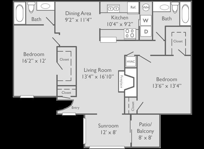 The Chattahoochee Floor Plan at The Preserve at Dunwoody Apartments in Dunwoody, Georgia, GA