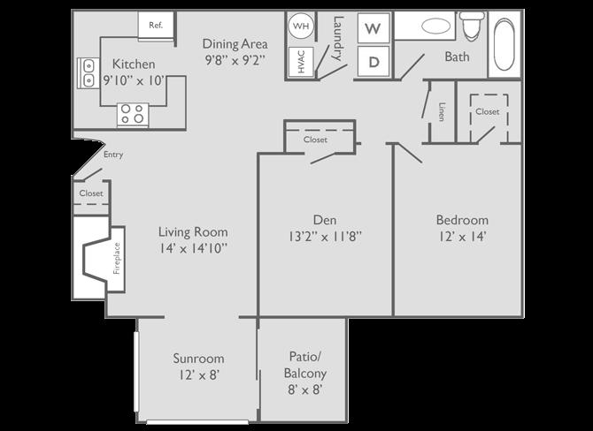 Vickery Floor Plan at The Preserve at Dunwoody Apartment Homes, Dunwoody, Georgia, GA