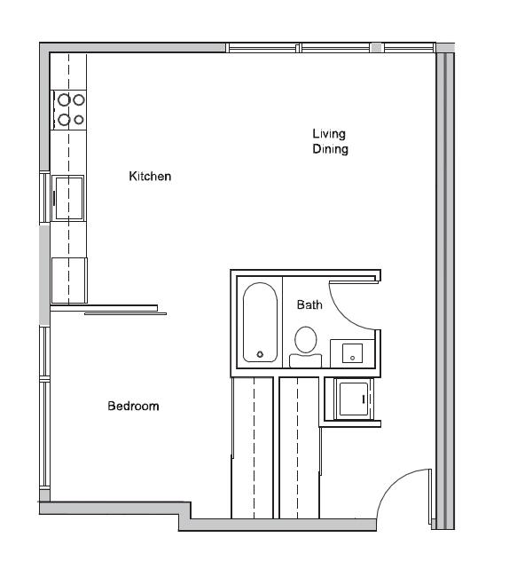 1 bed X 1 bath #304 Floor Plan 1