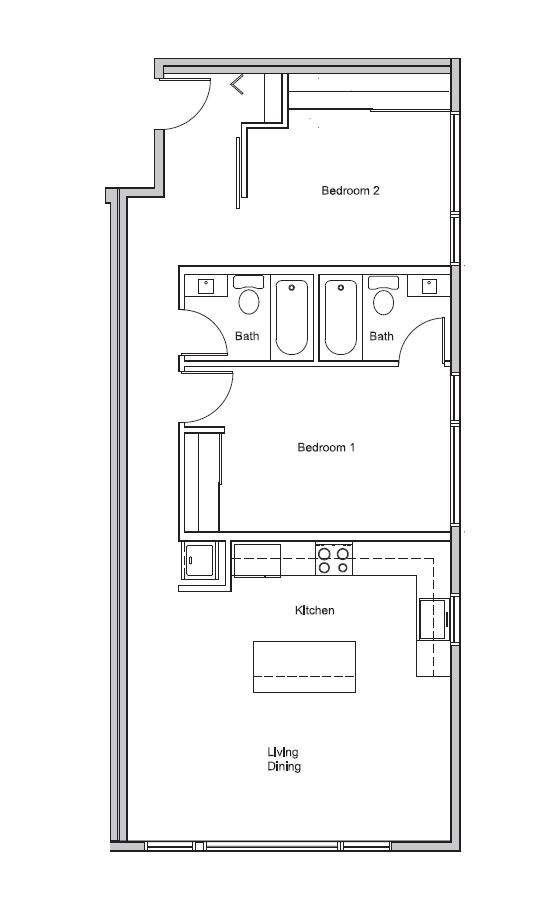 2 bed X 2 bath #502 Floor Plan 3