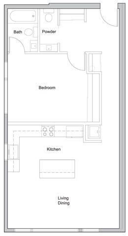 1 bed X 1.5 bath Floor Plan 2