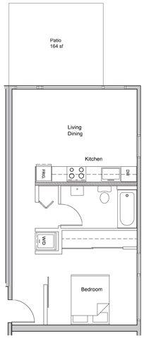 1 bed X 1 Bath w/ patio #203 Floor Plan 4