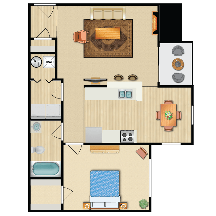 1 Bedroom 1 Bath - The Opal