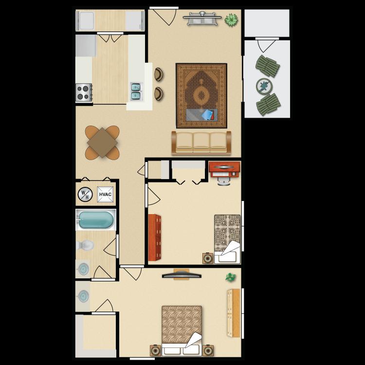 2 Bedroom 1 Bath Floor Plan 3