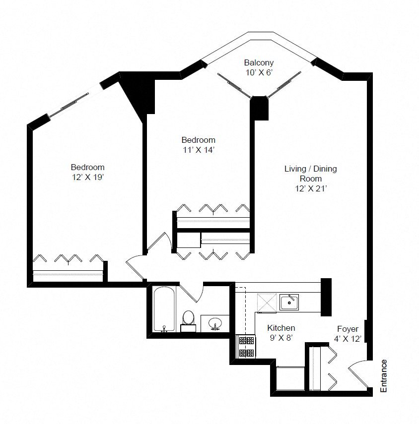 2 Bedroom Floor Plan 5