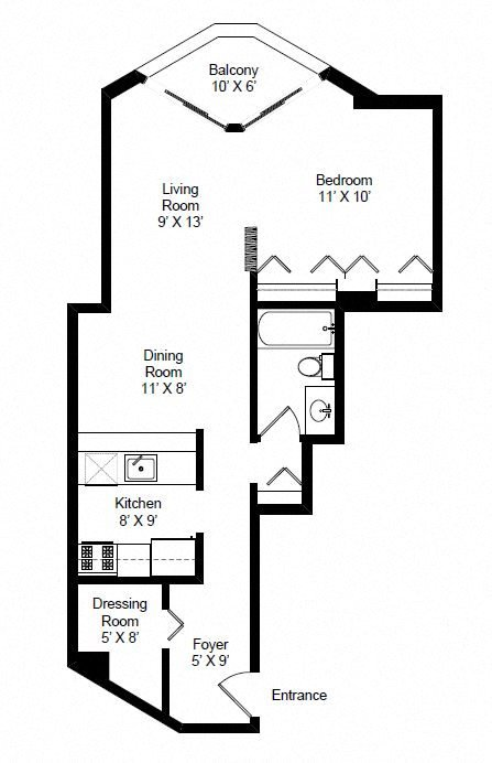 Convertible 1 Bedroom Floor Plan 3