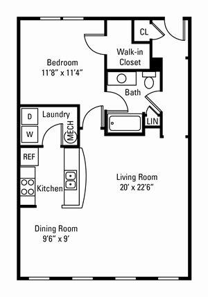 1 Bedroom, 1 Bath 872 sq. ft. (Alcott)
