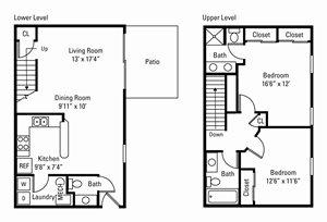 2 Bedroom, 2.5 Bath 1,080 sq. ft. (Devonshire)