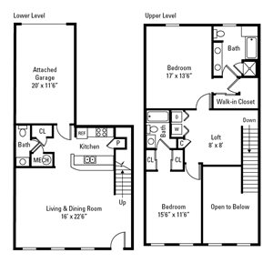 2 Bed, 2.5 Bath Townhome 1,438 sq. ft. (Westminster)
