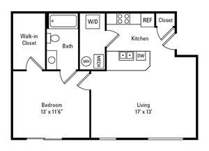 1 Bedroom, 1 Bath 663 sq. ft.