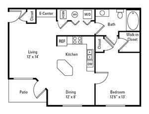 1 Bedroom, 1 Bath 793-809 sq. ft.