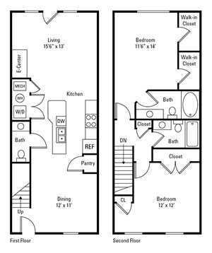 2 Bed, 2.5 Bath Townhome 1,245-1,910 sq. ft.