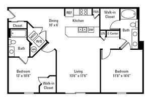 2 Bedroom, 2 Bath 1,117-1,144 sq. ft.