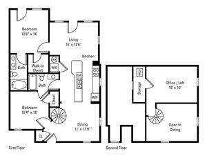 2 Bedroom, 2 Bath Townhome 1,418 sq. ft.