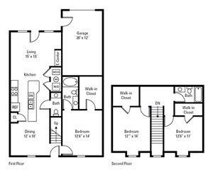 3 Bed, 2.5 Bath Townhome 1,561-1,613 sq. ft.