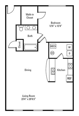 1 Bedroom, 1 Bath 895-944 sq. ft.