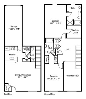 2 Bed, 2.5 Bath Townhome 1,420-1,541 sq. ft.