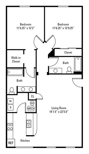 2 Bedroom, 2 Bath 1,064 sq. ft.