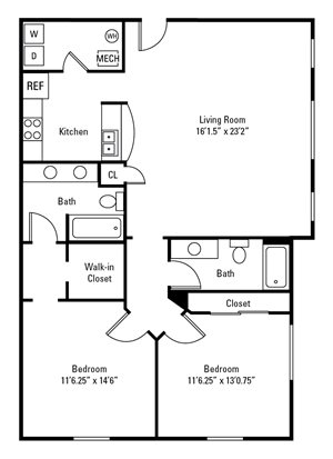 2 Bedroom, 2 Bath 1,072-1,136 sq. ft.