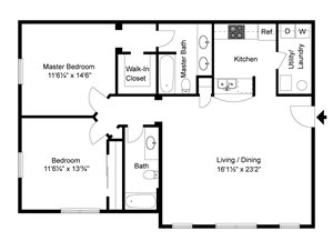 2 Bedroom, 2 Bath 1,136 sq. ft.
