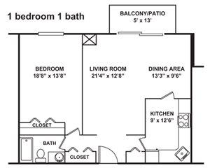 1 Bedroom, 1 Bath 865-1,180 sq. ft.