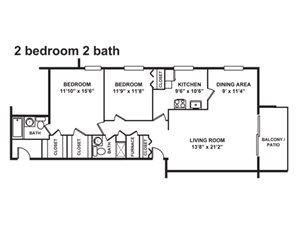 2 Bedroom, 2 Bath 1,170-1,660 sq. ft.