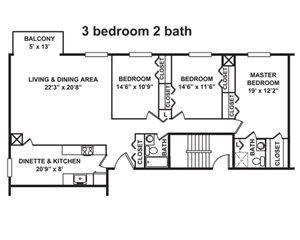 3 Bedroom, 2 Bath 1,555-1,665 sq. ft.
