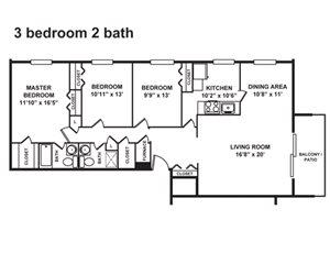 3 Bedroom, 2 Bath 1,200 sq. ft.