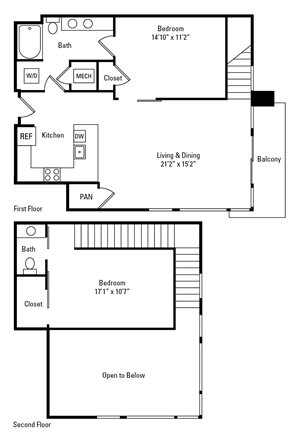 1 Bed, 1.5 Bath 1,186 sq. ft. - The Yardley with Den