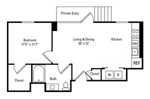 1 Bed, 1 Bath 651 sq. ft. - The Beatty