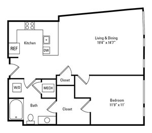 1 Bed, 1 Bath 826 sq. ft. - The Princeton
