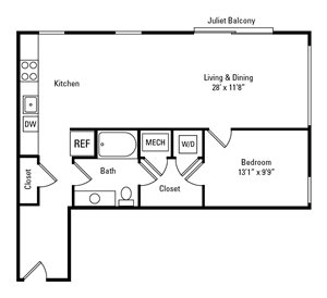 1 Bed, 1 Bath 837 sq. ft. - The Emory