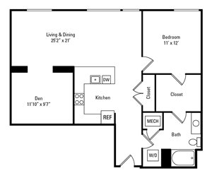 1 Bed, 1 Bath 1,004 sq. ft. - The Summerlea with Den
