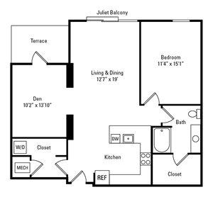 1 Bed, 1 Bath 1,032 sq. ft. - The Graham
