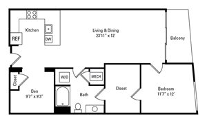1 Bed, 1 Bath 925 sq. ft. - The Wicklow with Den