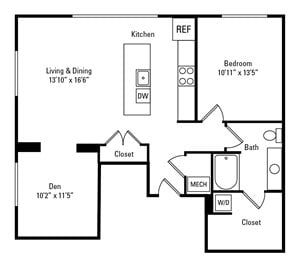 1 Bed, 1 Bath 971 sq. ft. - The Stratford with Den