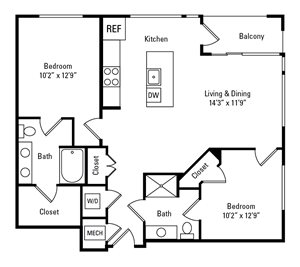 2 Bed, 2 Bath 1,008 sq. ft. - The Highland