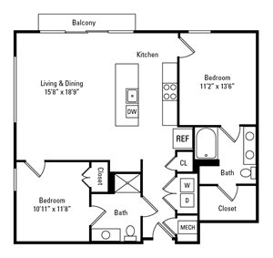 2 Bed, 2 Bath 1,119 sq. ft. - The Whitfield