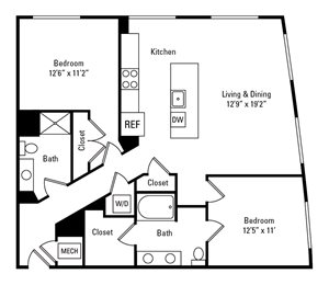 2 Bed, 2 Bath 1,187 sq. ft. - The Marchand