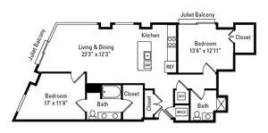 2 Bed, 2 Bath 1,255 sq. ft. - The Fairmount